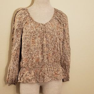 Faded glory brown blouse L 12-14